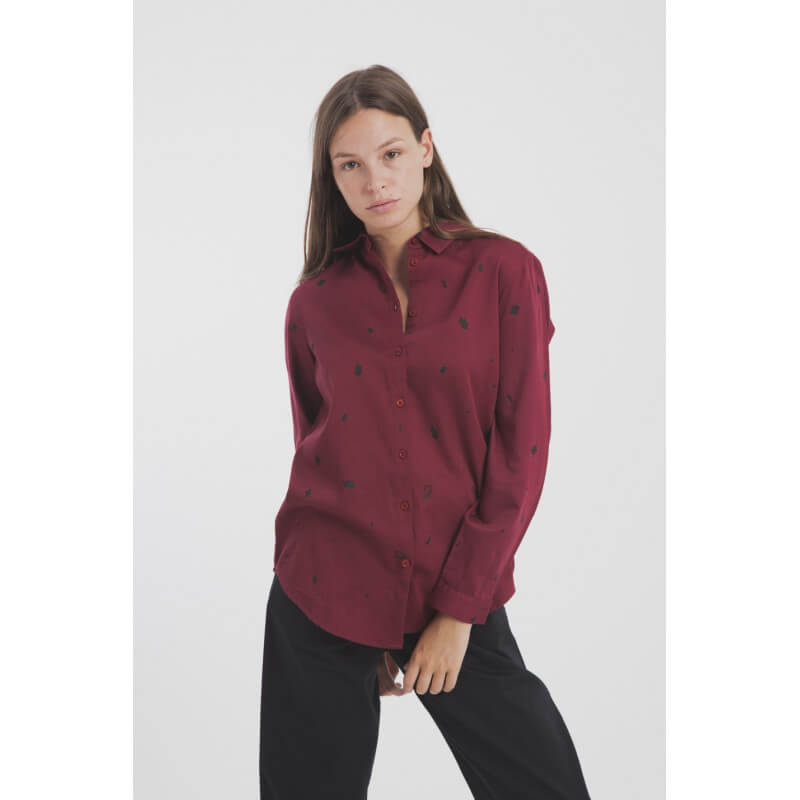 Leaf pattern burgundy shirt...