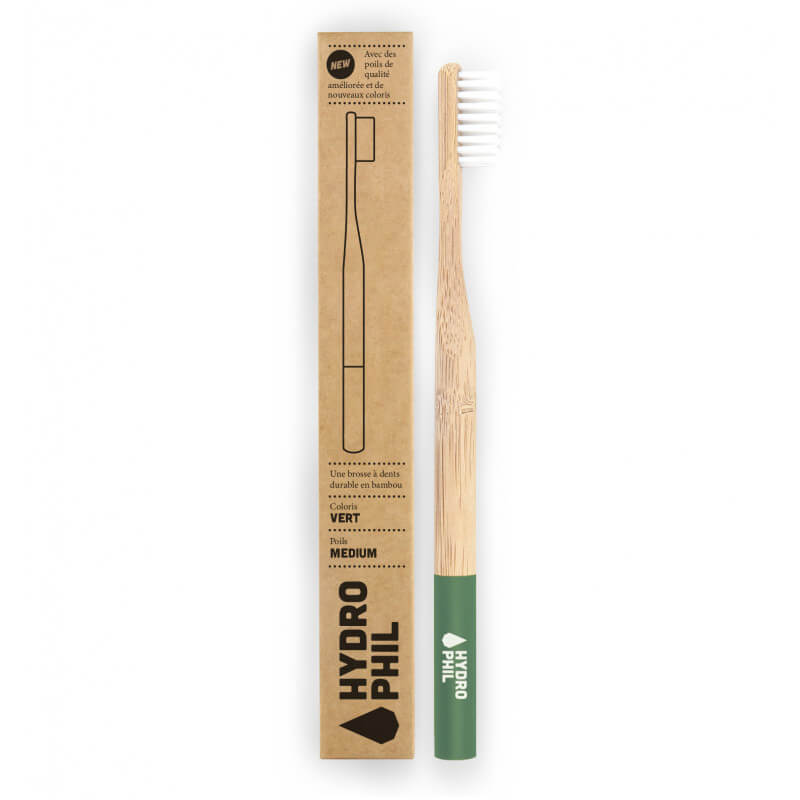 Bamboo toothbrush - Green -...