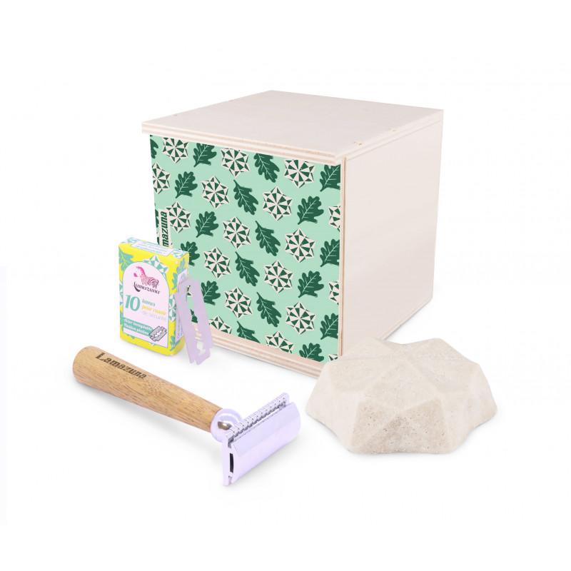 Coffret de rasage unisexe et boîte en bois de peuplier français