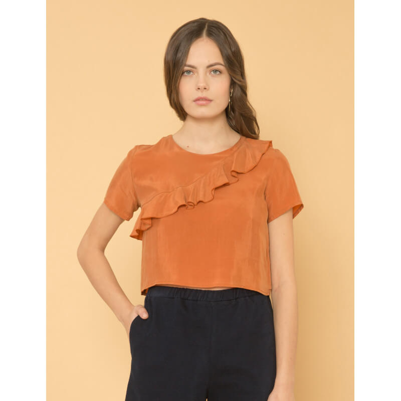"""Sweet Cinnamon"" cupro top"